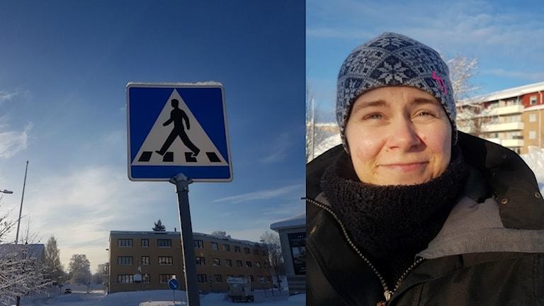 Övergångsskylt och Madeleine Rutqvist