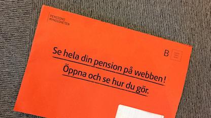 Orange kuvert från Pensionsmyndigheten