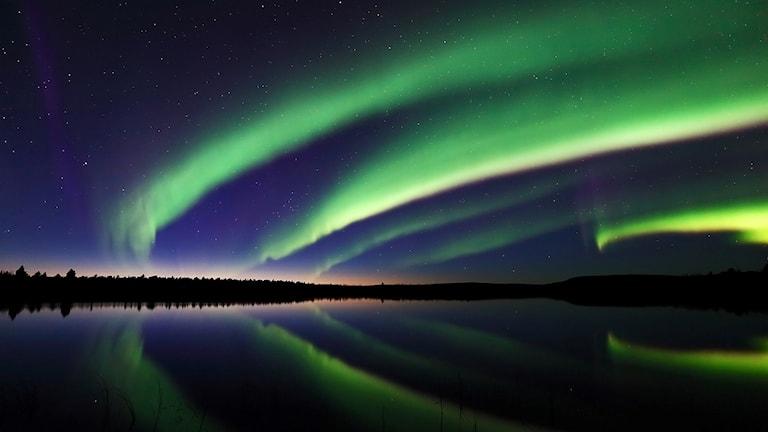 Norrsken vid sjön Saarijärvi, norr om Soppero.