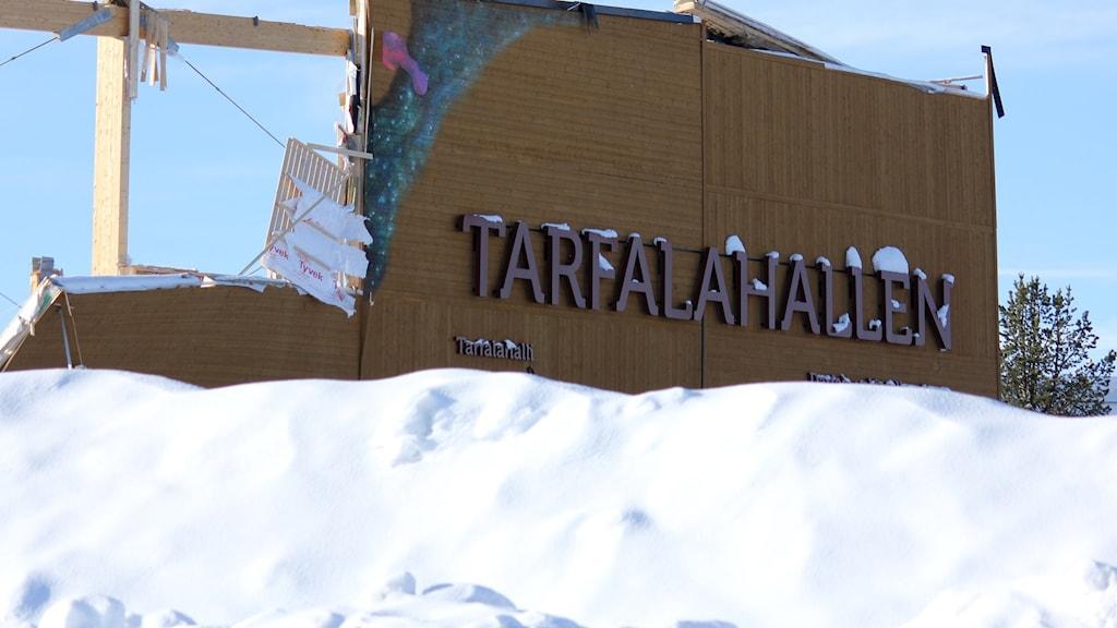 Tarfalahallen i Kiruna är raserad.