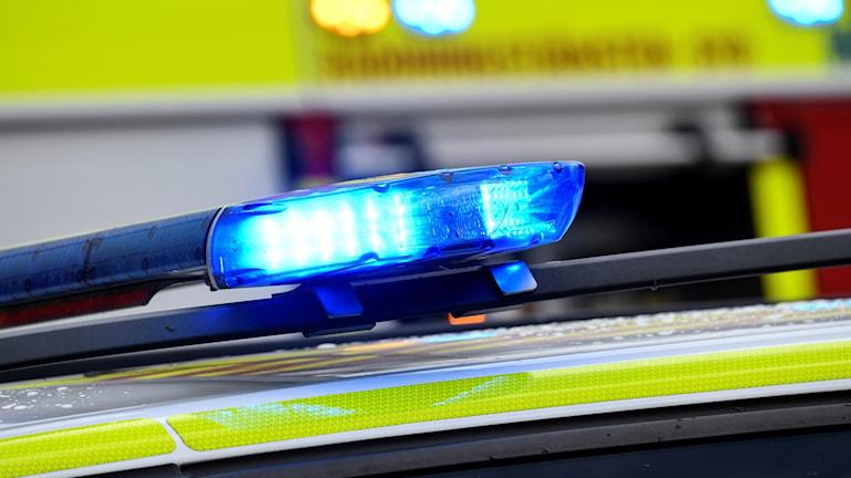 Närbild på blåljus från en polisbil.