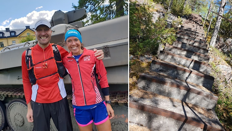 Kollage med bild på en man och en kvinna vid målgången samt en stentrappa i skogen