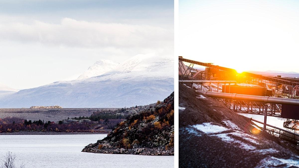 Suorvadammen i Luleå älv, med fjäll i bakgrunden. Och LKABS gruva i Kiruna i fin solnedgång.