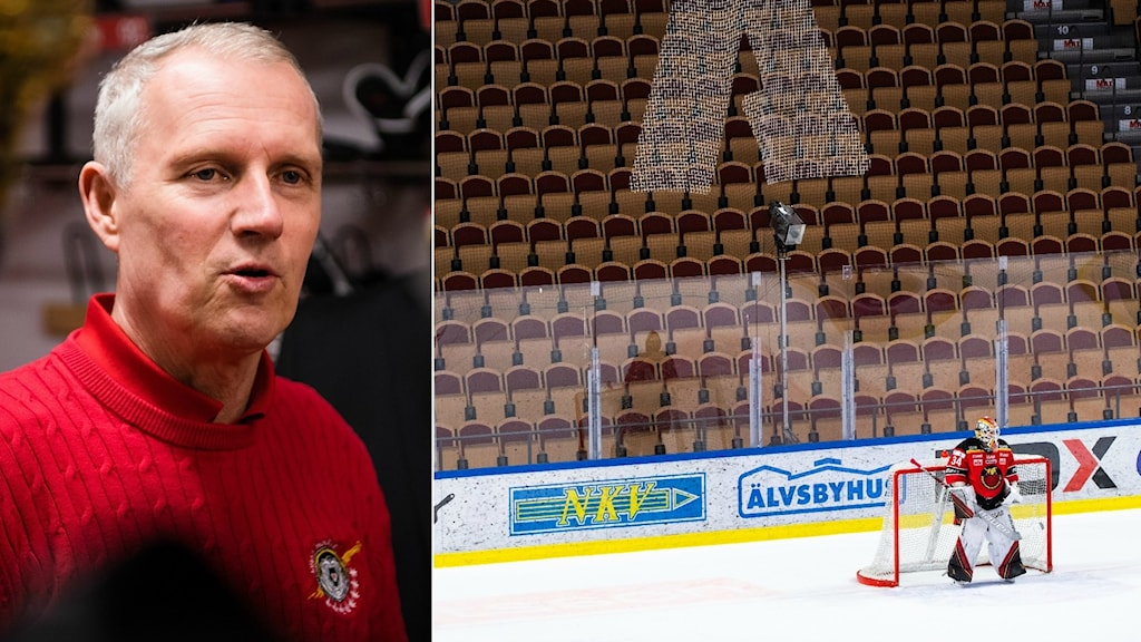 Luleå Hockeys vd Stefan Enbom och målvakten Joel Lassinantti under den publiklösa matchen mot Skellefteå.