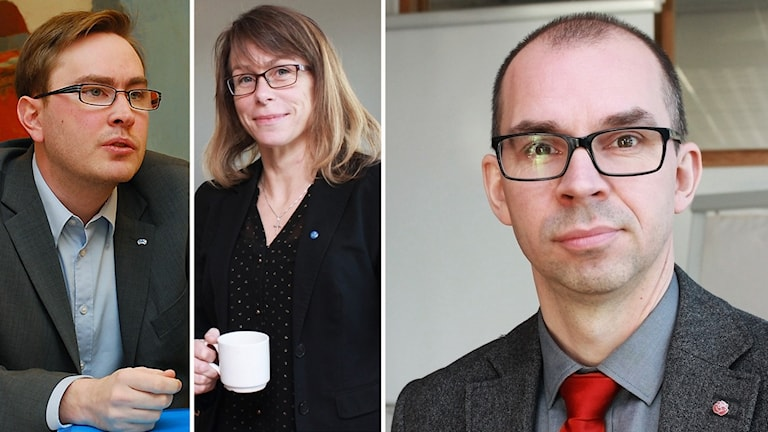 Thomas Olofsson (L), Anette Asplund (KD) och Niklas Nordström (S).