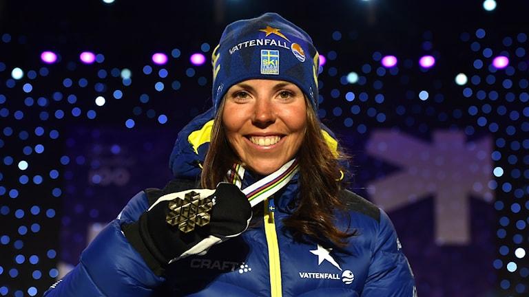 Charlotte Kalla efter VM bronset.