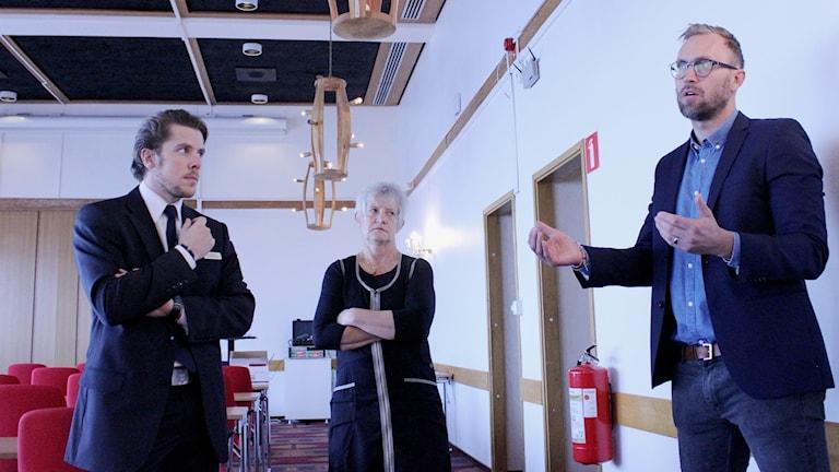 Jon Moln Teike, Annika Lindqvist och Erik Flink på Myndigheten för samhällsskydd och beredskap deltar på seminarium i Kiruna.