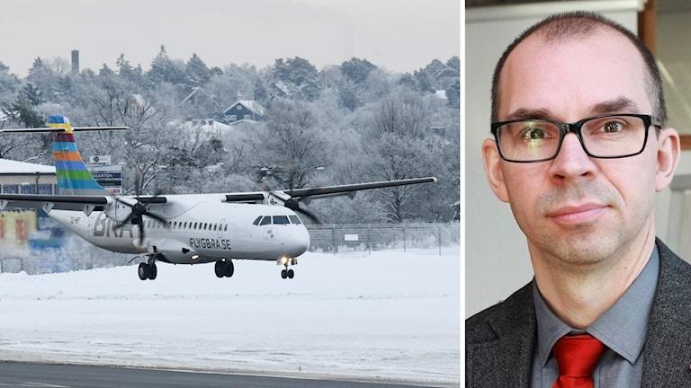 Flygplan landar och Luleås kommunalråd Niklas Nordström (S).