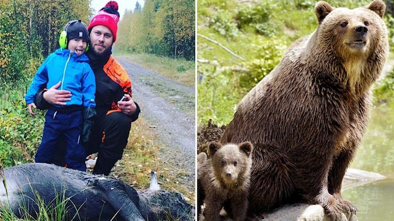 Oskar och Charlie Öhgren och björnhona