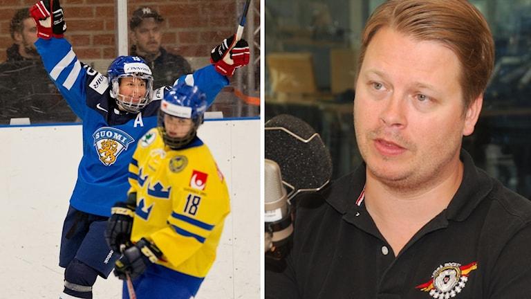 Finska landslaget jublar medan Damkronorna deppar och Luleå Hockey/MSSK:s tränare Fredrik Glader.