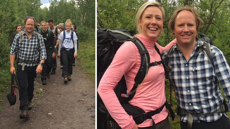 Ola Skinnarmo leder unga diabetiker mot Kebnekaise, till höger tillsammans med Nathalie Axelsson från Malmö.