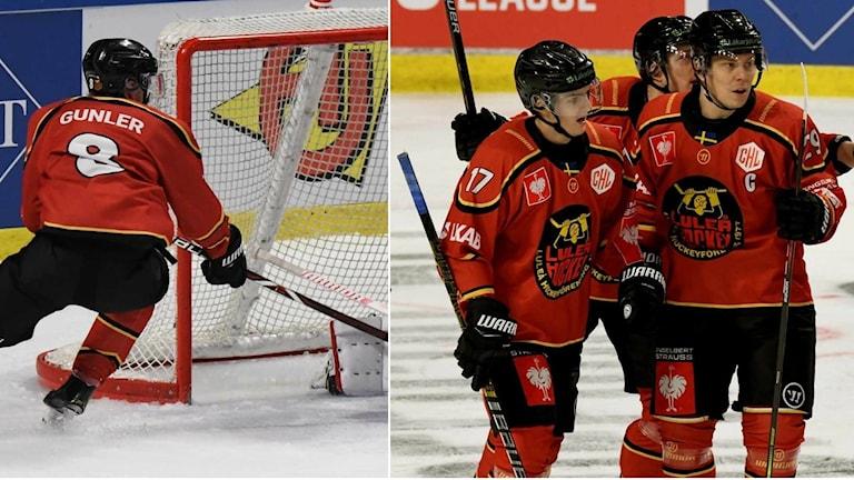 Luleå Hockeys Noel Gunler mot Lausanne HC.