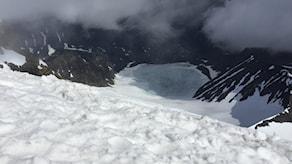 Utsikt från Kebnekaises topp.