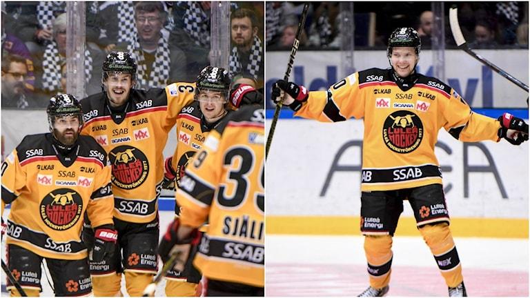 Luleåjubel efter att Emil Larsson (mitten) gjort 2-2 under lördagens ishockeymatch i SHL mellan Färjestads BK och Luleå Hockey.  Luleås Einar Emanuelsson jublar efter sitt 2-3 mål.