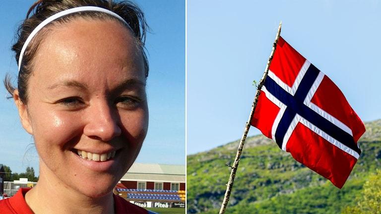 June Pedersen och Norgeflagga