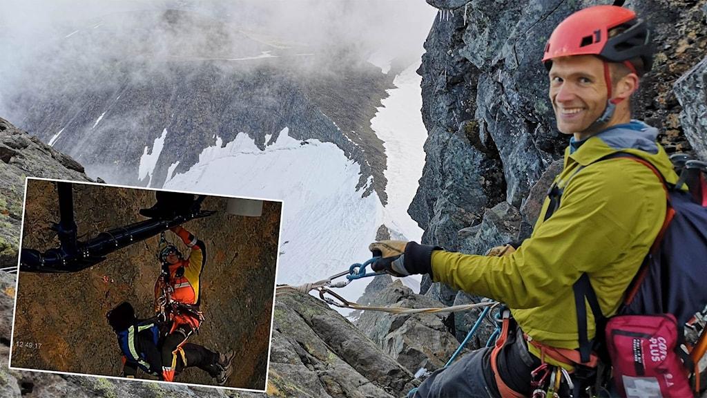 Viktor Ekelund klättrar på Kebnekaise, fjällräddning