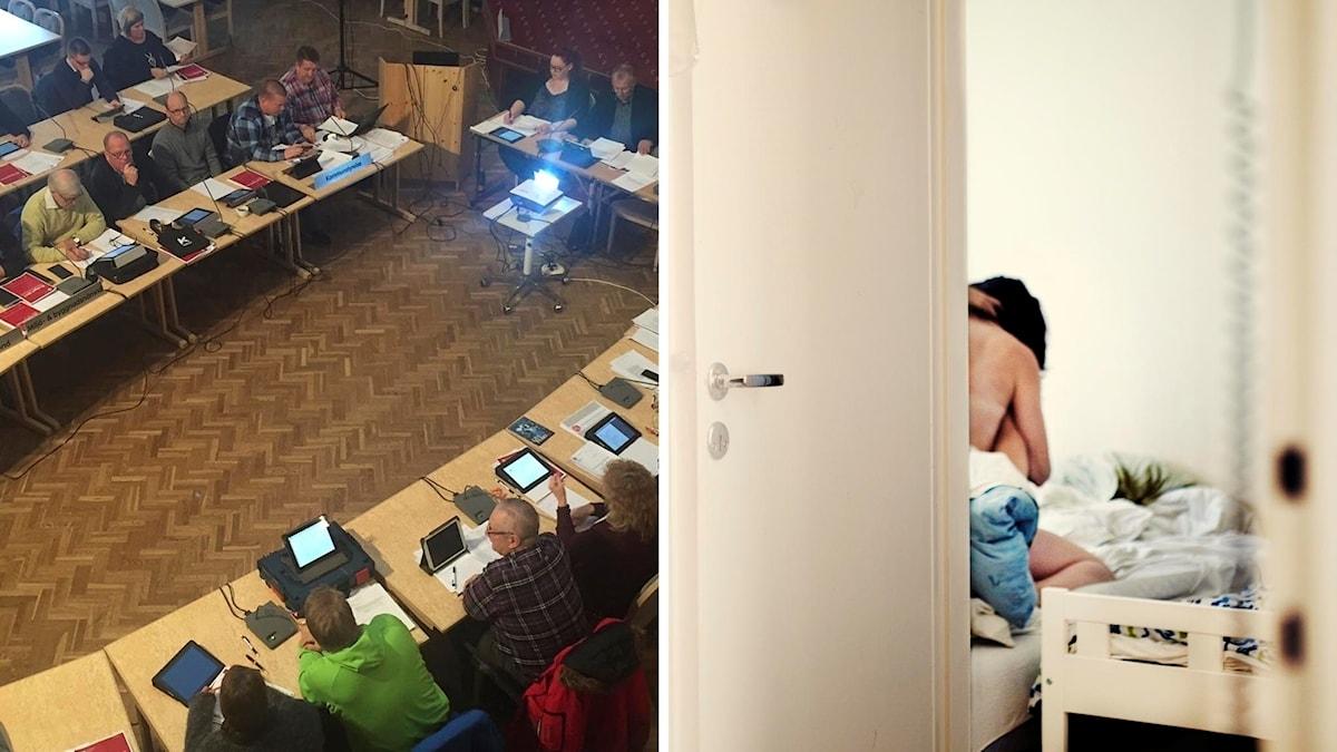 Kommunfullmäktige i Övertorneå och dörr på glänt till sovrum där par har sex.