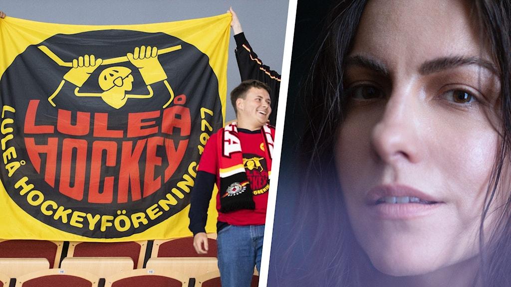 Glada Luleå hockey-fans och artisten Vera Vinter.