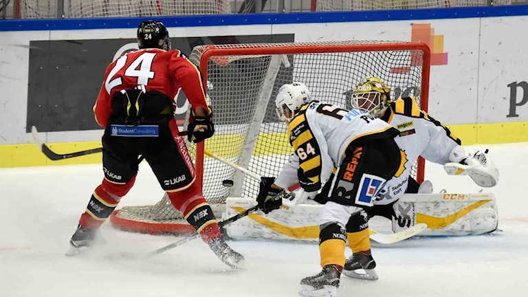 Luleå Hockeys Johan Harju gör mål mot Skellefteå AIK.
