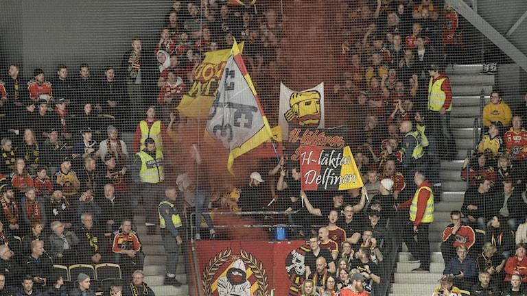 Luleå Hockeys fans under ett SHL-derby mellan Skellefteå och Luleå i Skellefteå Kraft Arena. (Arkivbild)