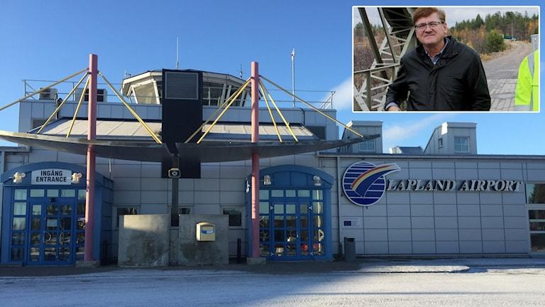 Stationsbyggnaden på Gällivare Lapland Airport med kommunalrådet Lars Alriksson (M) infälld.