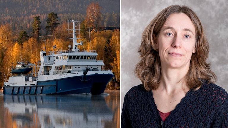 Fartyget Ocean Surveyer och Annica Gammeltoft, länsstyrelsen i Norrbotten.