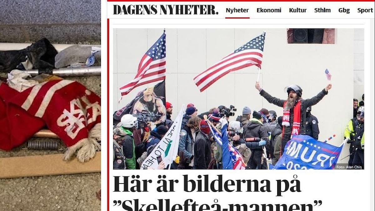 Två bilder: en övergiven rödvit Skellefteåhalsduk och mannen som bär den vid stormningen av Kapitolium.