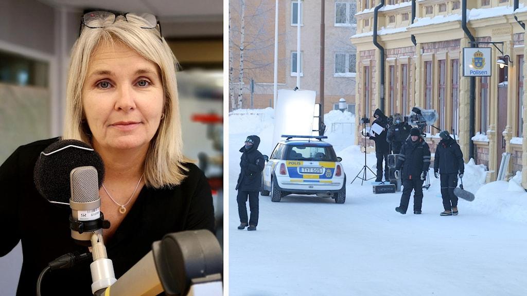 Sandra Warg, VD på Filmpool Nord, och en filminspelning i Luleå.