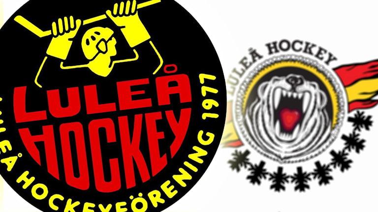 """Luleå Hockeys ursprungliga klubbmärke med """"stålmannen"""" och det med björnen från 1994."""