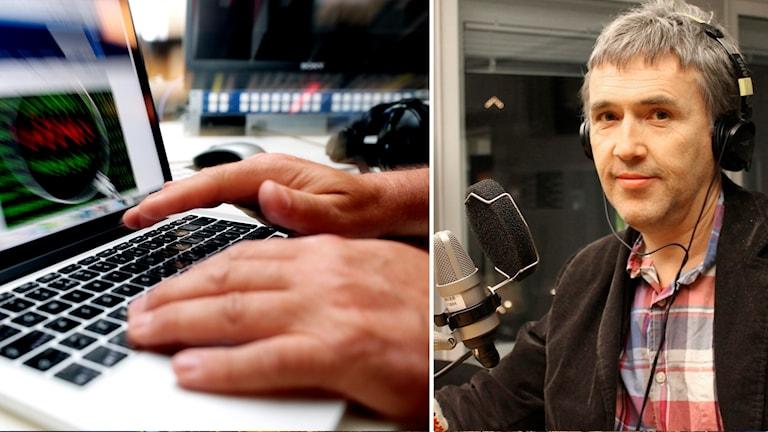 Man skriver på datortangentbord och Thomas Nilsen, redaktör på Barents Observer i en radiostudio.