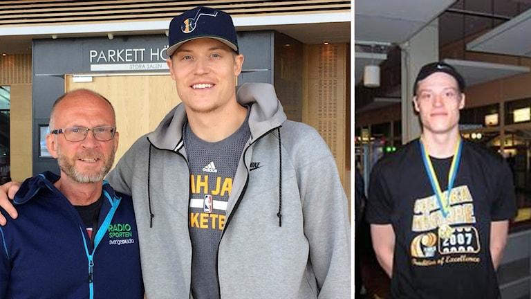 Jonas Jerebko med Radiosportens Peter Sundkvist, till höger Jerebko med SM-guldmedaljen för Plannja 2007.