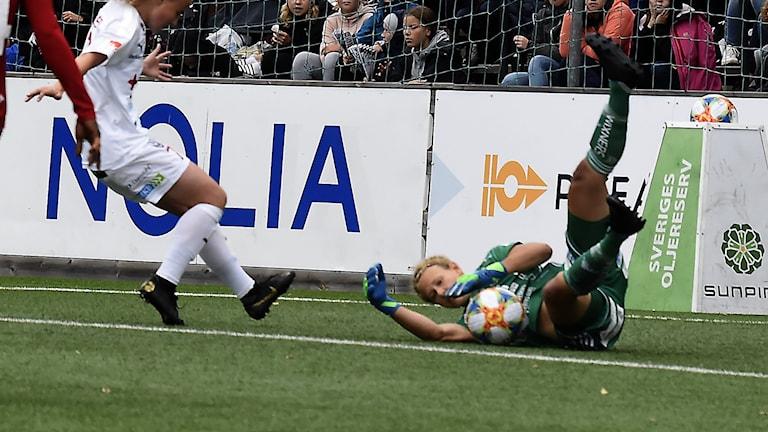 Piteå IF:s målvakt Cajsa Andersson mot Rosengård i damallsvenskan i fotboll