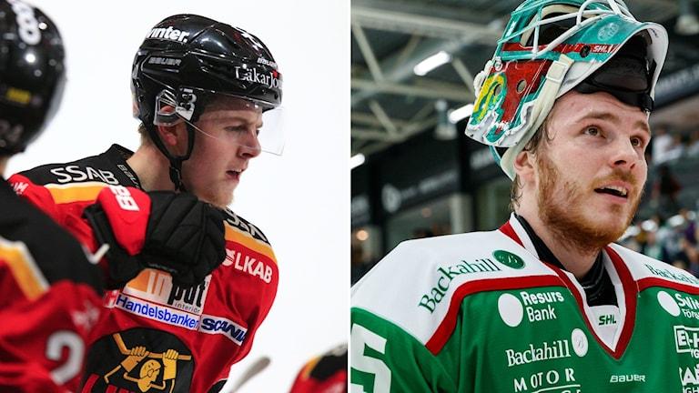 Luleå Hockeys Jesper Sellgren och Rögles Christoffer Rifalk.