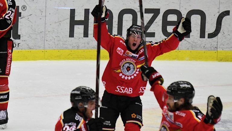 Luleå Hockey jublar efter mål.