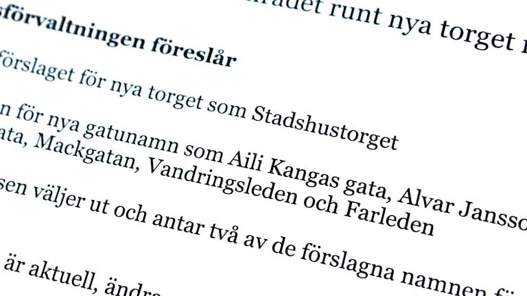 Förslag till gatunamn i Kiruna nya centrum.