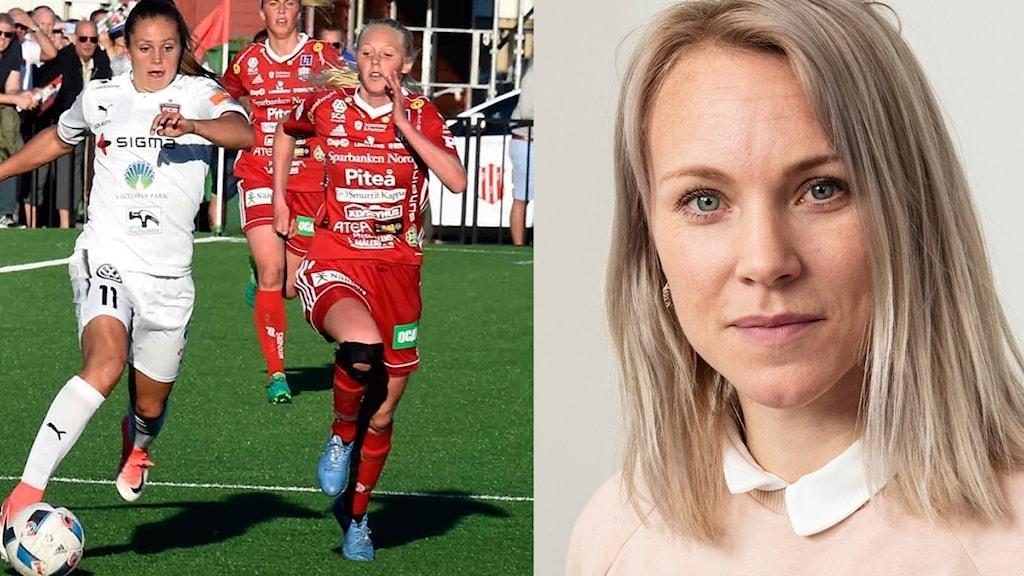 Rosengård-Piteå i damallsvenskan och Radiosportens fotbollsexpert Johanna Frisk.