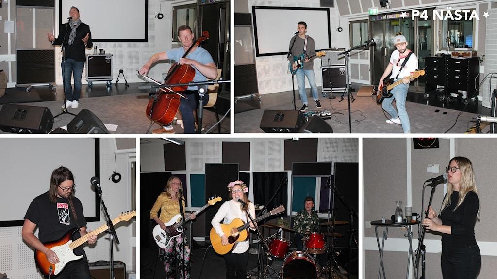 P4 Nästa 2020, Micke Holm, Nagoon, Jonah Griks, The Chickpeas Band, Augusta. Bilder från när de sjunger och spelar i studion i radiohuset i Luleå.