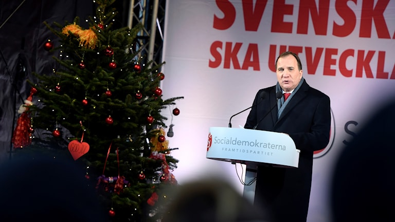 Stefan Löven under jultalet i Enköping.
