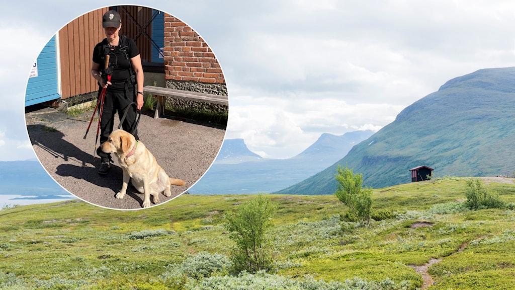 Anna Bergholtz med ledarhund. Lapporten i bakgrunden.