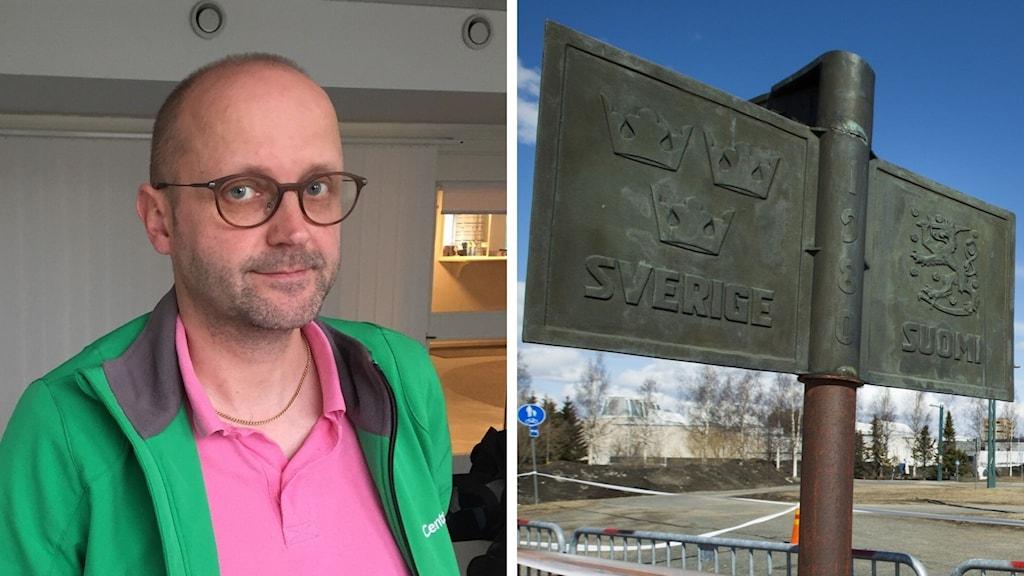 Sven Tornberg Haparandas kommunalråd och en skylt på gränsen mellan Sverige och Finland