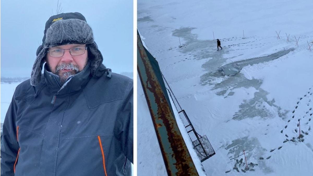Traktor genom isen.