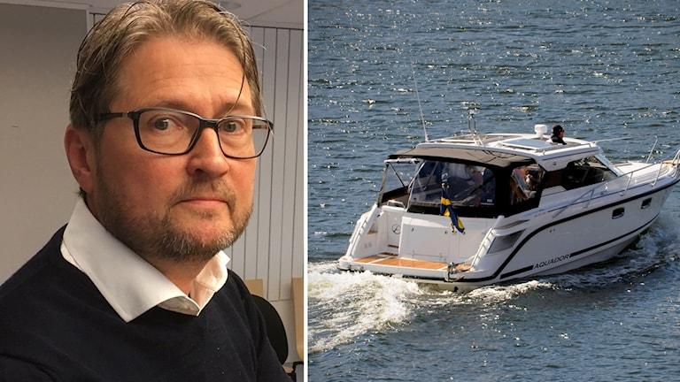Chefsåklagare Thomas Ennefors och motorbåt.