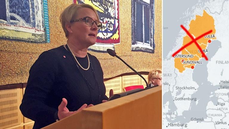 Maria Stenberg och en karta över regionen Norrland.