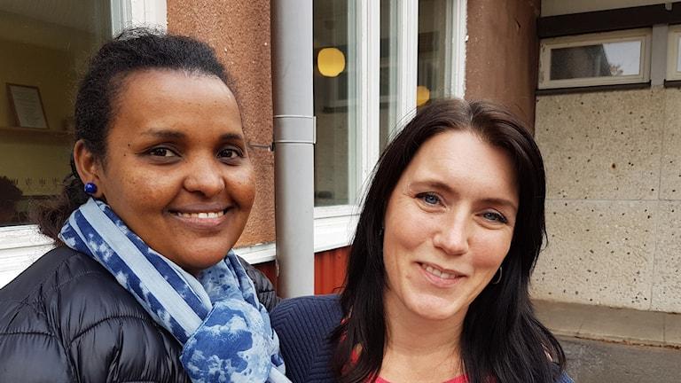 Selam Alos och Matilda Wiklund i Älvsbyn.
