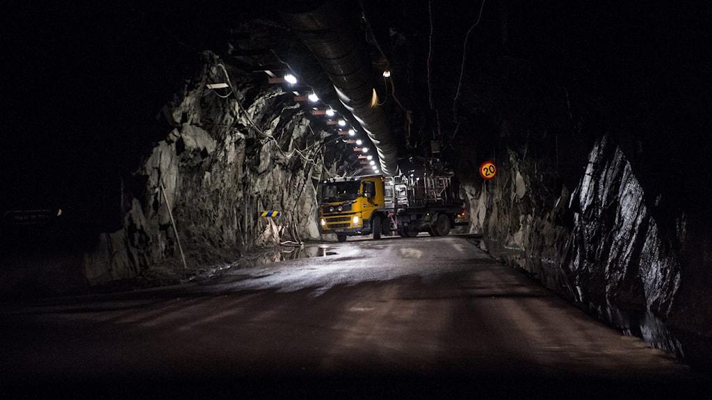 Gruvan från mars 2014 i Kiruna där LKAB påbörjat brytningen på en ny huvudnivå på 1 365 meter, i världens största underjordsgruva för järnmalm. Foto: Per Larsson / TT