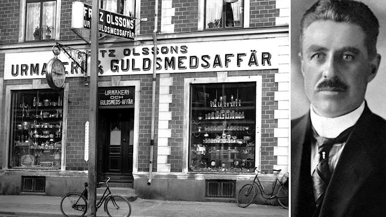 Fritz Olssons urmakeri och guldsmedsaffär i Luleå år 1919 och Fritz Olsson.