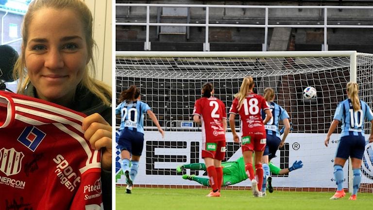 Piteå IF:s Irma Helin och hennes straffmål mot Djurgården.