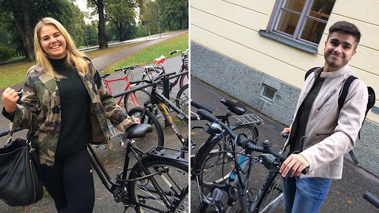 Lotta Thunell och Markus Alafifi framför sina cyklar.