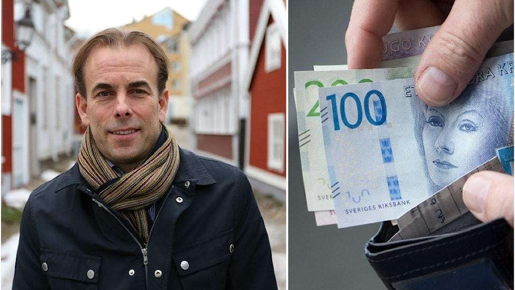 Ett porträtt av Johan Färnstrand, regiondirektör och en bild på sedlar