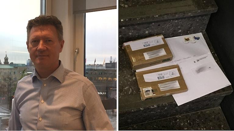 Bildkollage med Bertil Wingqvist och den övergivna posten i trappa.